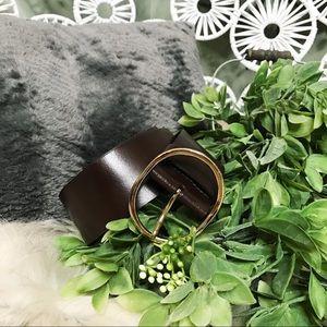Halogen dark brown leather circle fashion belt